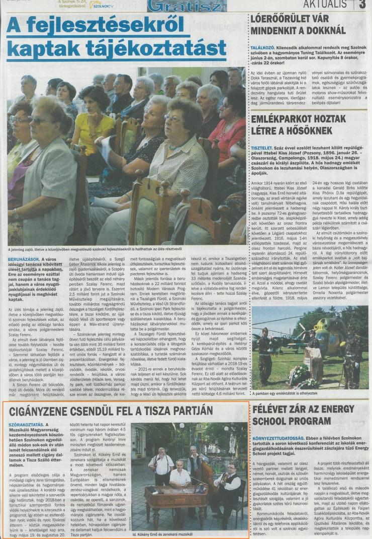 Új Néplap 2018.06.01. Cigányzene csendül fel a Tisza partján
