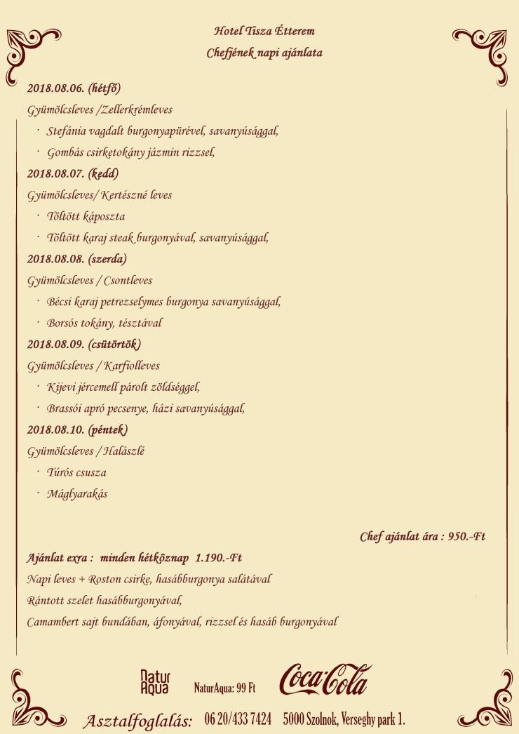 Napi Aljánlat 2018.08.06.-08.10.-ig
