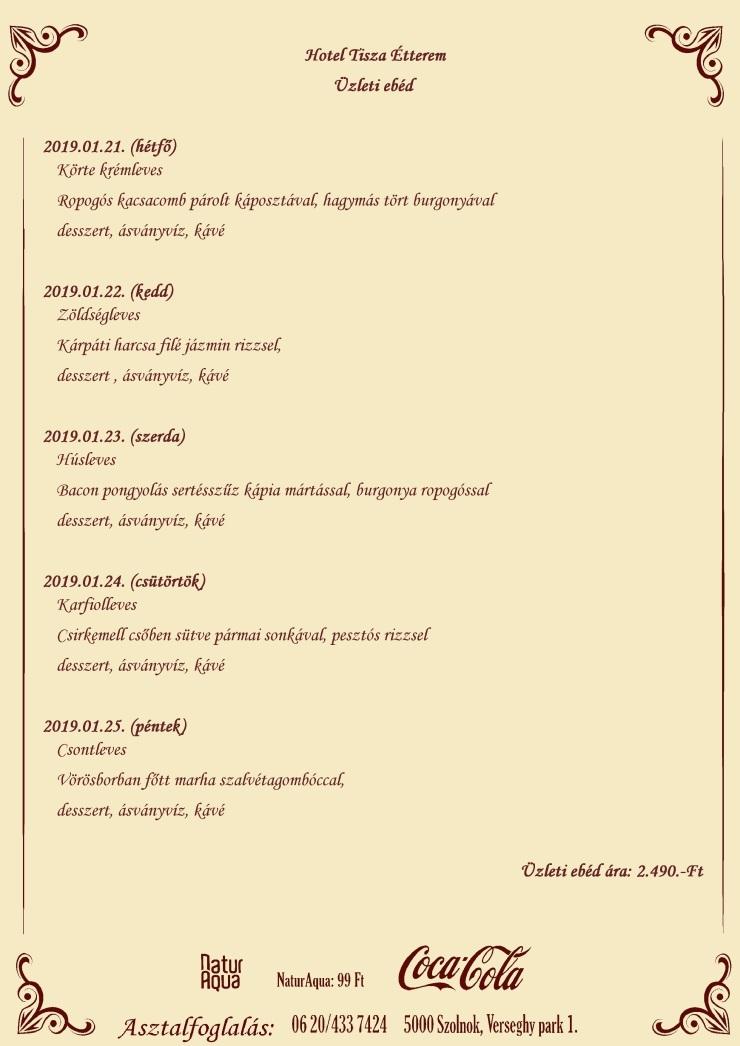 Üzleti ebéd 2019.01.21- 2019.01.25