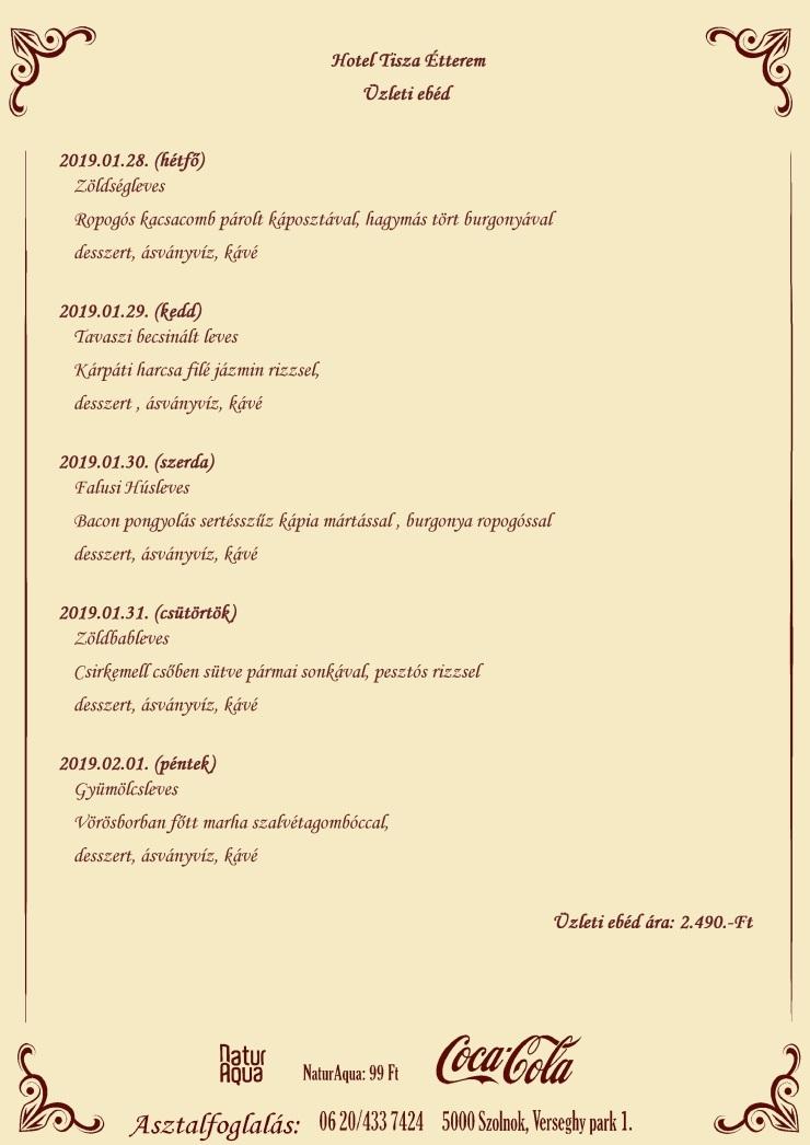 Üzleti ebéd 2019.01.28- 2019.02.01